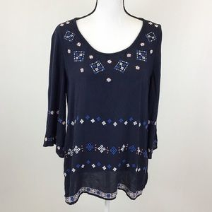 Gap Navy Blue Embroidered Sheer Blouse